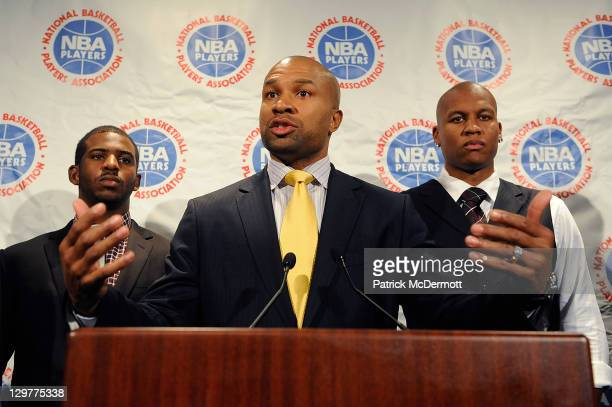 Derek Fisher President of the National Basketball Players Association speaks at a press conference after NBA labor negotiations at Sheraton New York...