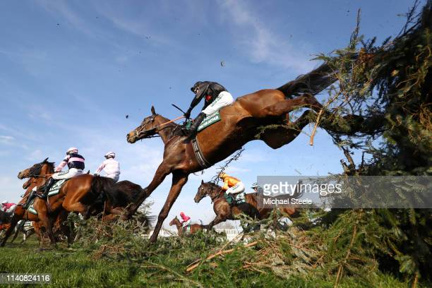 Derek Fox riding One For Arthur clears the Canal Turn during the Randox Health Grand National Handicap Chase at Aintree Racecourse on April 06 2019...