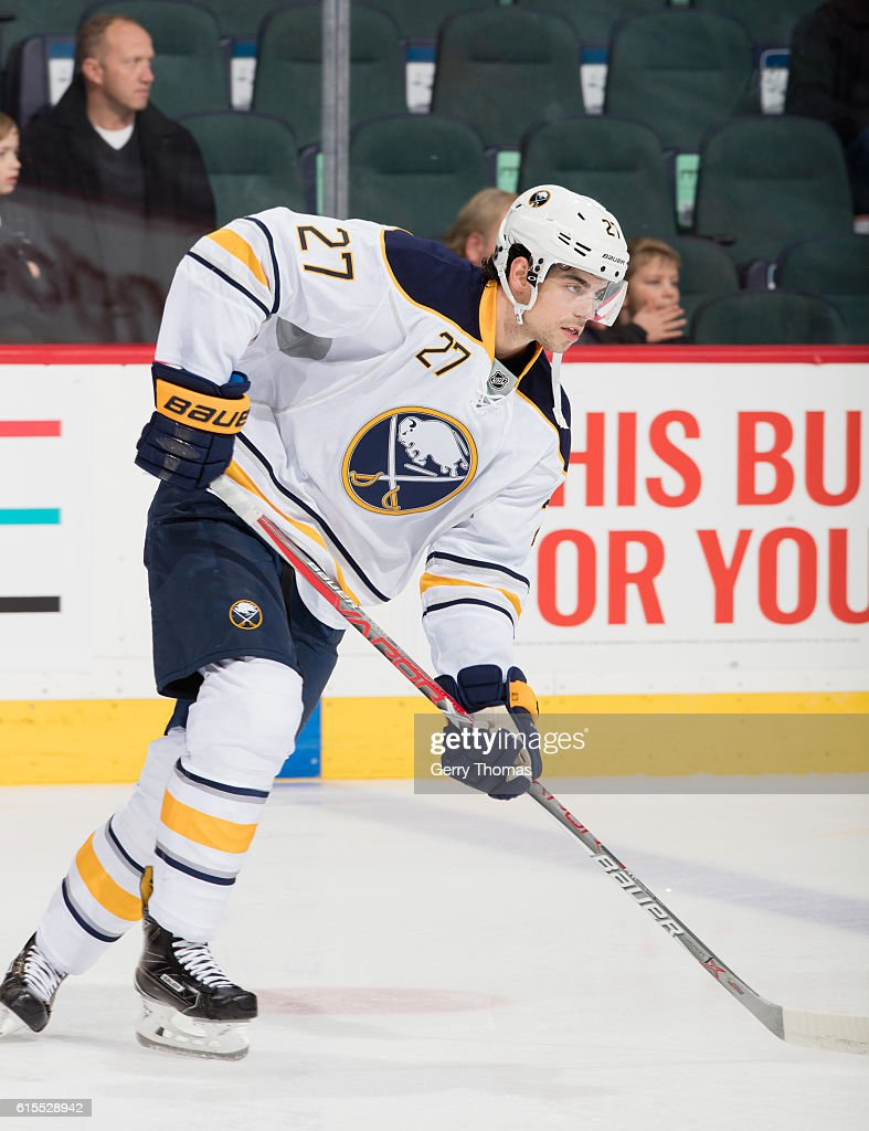 Derek Grant #27 of the Buffalo Sabers skates in warm up prior to the game against the Calgary Flames at Scotiabank Saddledome on October 18, 2016 in Calgary, Alberta, Canada.