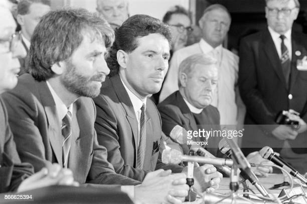 Derek Hatton Deputy Leader of Liverpool City Council Liverpool Club and Council Officials News Press Conference at Liverpool Airport 30th May 1985...