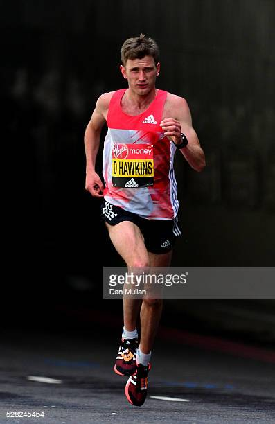 Derek Hawkins of Great Britain competes in the Virgin Money London Marathon on April 24 2016 in London England