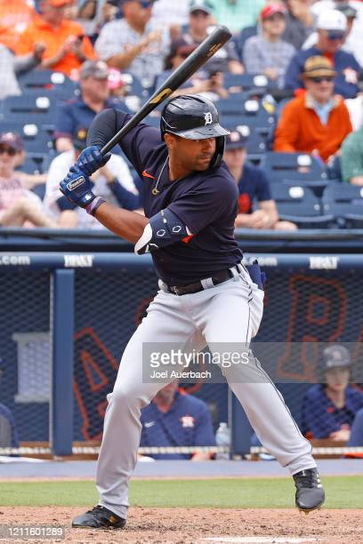 Derek Hill of the Detroit Tigers bats against the Houston Astros during a spring training game at the FITTEAM Ballpark of the Palm Beaches on March 9...