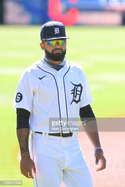 Derek Hill of the Detroit Tigers looks on prior to the game against the Cleveland Indians at Comerica Park on September 20 2020 in Detroit Michigan...