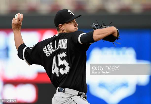 Derek Holland of the Chicago White Sox delivers a pitch against the Minnesota Twins during the first inning of the game on August 30 2017 at Target...