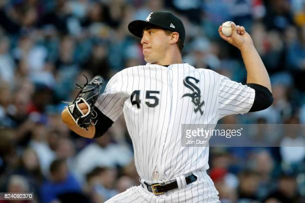 Derek Holland of the Chicago White Sox pitches against the Cleveland Indians during the second inning at Guaranteed Rate Field on July 28 2017 in...