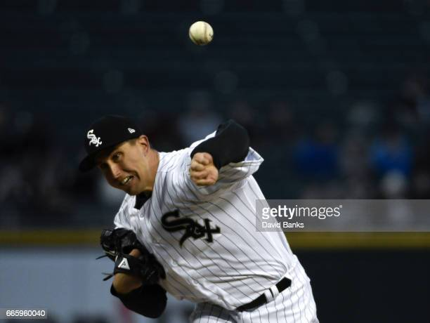 Derek Holland of the Chicago White Sox pitches against the Minnesota Twins during the first inning on April 7 2017 at Guaranteed Rate Field in...