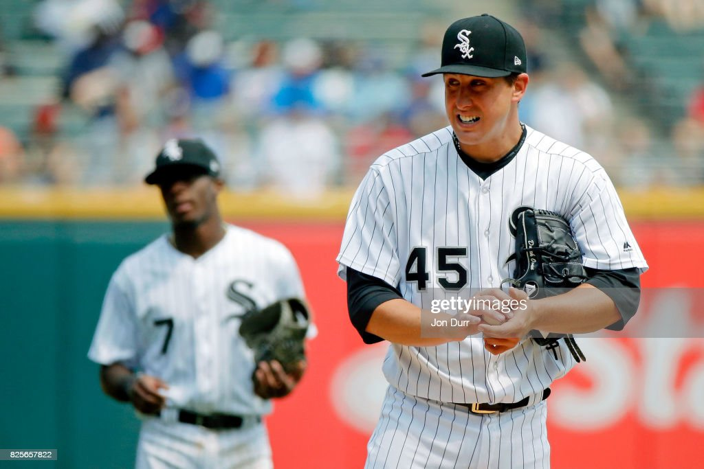 Derek Holland #45 of the Chicago White Sox reacts after walking Justin Smoak #14 of the Toronto Blue Jays (not pictured) to load the bases during the fifth inning at Guaranteed Rate Field on August 2, 2017 in Chicago, Illinois.
