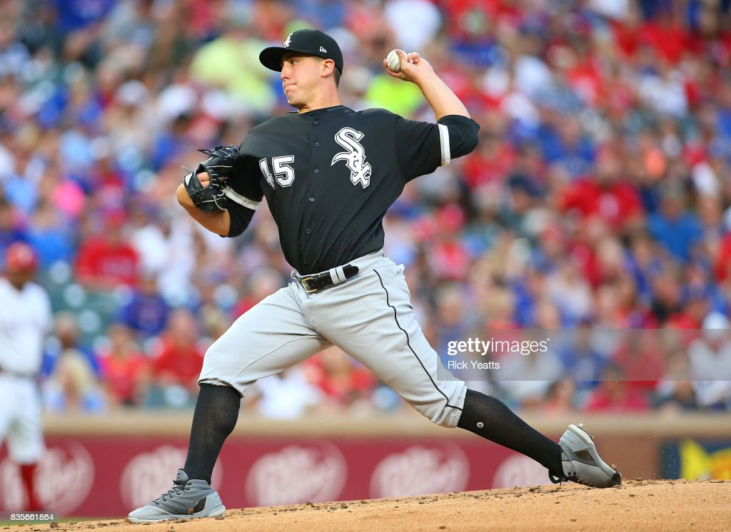 Derek Holland #45 of the Chicago White Sox throws in the first inning against the Texas Rangers at Globe Life Park in Arlington on August 19, 2017 in Arlington, Texas.