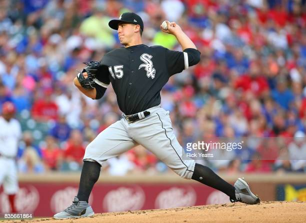 Derek Holland of the Chicago White Sox throws in the first inning against the Texas Rangers at Globe Life Park in Arlington on August 19 2017 in...