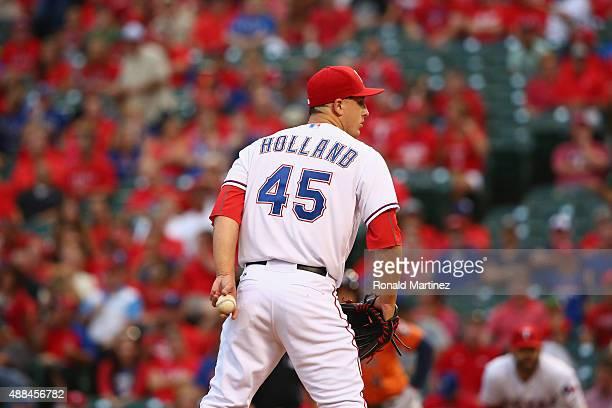 Derek Holland of the Texas Rangers at Globe Life Park in Arlington on September 15 2015 in Arlington Texas