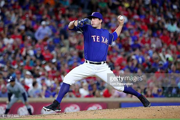 Derek Holland of the Texas Rangers pitches against the Tampa Bay Rays in the top of the eighth inning at Globe Life Park in Arlington on October 1...