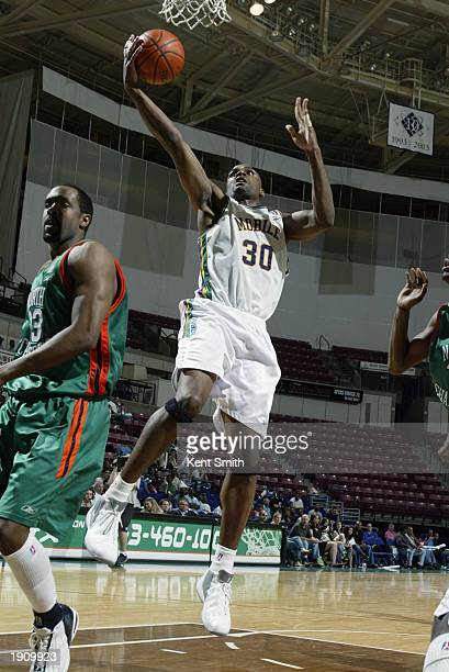 Derek Hood of the Mobile Revelers shoots a driving layup against the North Charleston Lowgators during Game One of the NBDL Semifinals at the North...