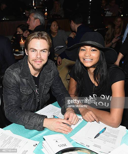 Derek Hough and Chanel Iman attend BronxWrites' BronxWide Poetry Slam 2015 at Joe's Pub on February 4 2015 in New York City