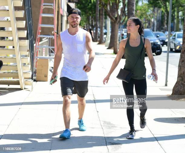 Derek Hough and Hayley Erbert are seen on September 18 2019 in Los Angeles California