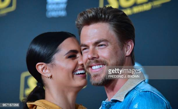 Derek Hough and Hayley Erbert arrive for the premiere of the film 'Solo A Star Wars Story' in Hollywood California on May 10 2018