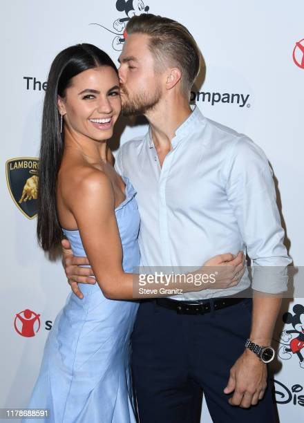 """Derek Hough and Hayley Erbert arrives at the Save the Children's """"Centennial Celebration: Once In A Lifetime"""" Presented By The Walt Disney Company at..."""