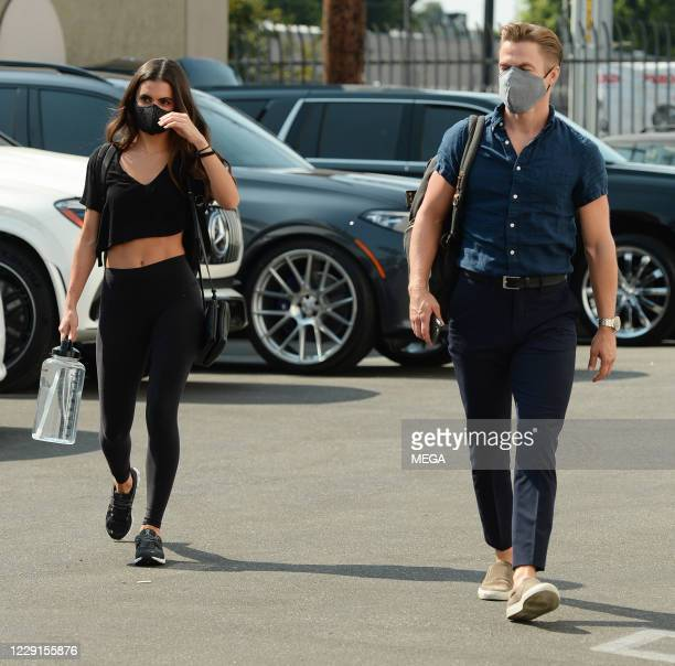 Derek Hough and Hayley Erbert arriving at the ' Dancing with the Star' rehearsal on October 17 2020 in Los Angeles California Photo by...