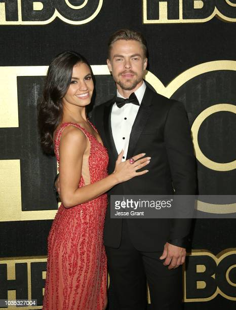 Derek Hough and Hayley Erbert attend HBO's Post Emmy Awards Reception at The Plaza at the Pacific Design Center on September 17 2018 in Los Angeles...