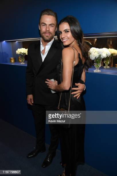 Derek Hough and Hayley Erbert attend The 2020 InStyle And Warner Bros 77th Annual Golden Globe Awards PostParty at The Beverly Hilton Hotel on...