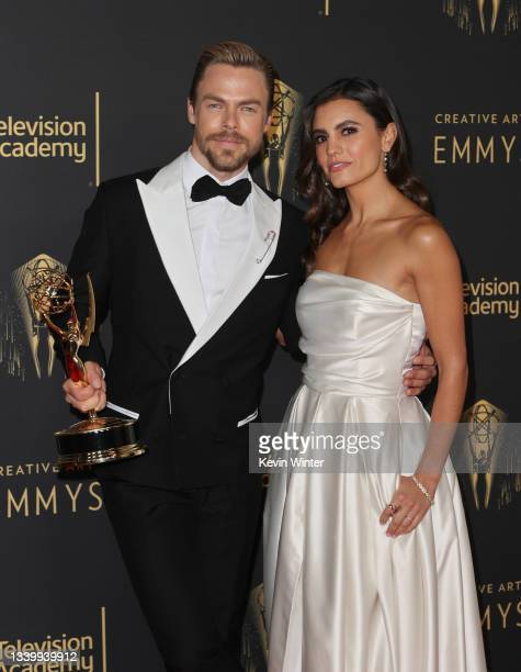 Derek Hough and Hayley Erbert attend the 2021 Creative Arts Emmys at Microsoft Theater on September 12, 2021 in Los Angeles, California.