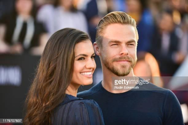 Derek Hough and Hayley Erbert attend the premiere of Netflix's El Camino A Breaking Bad Movie at Regency Village Theatre on October 07 2019 in...