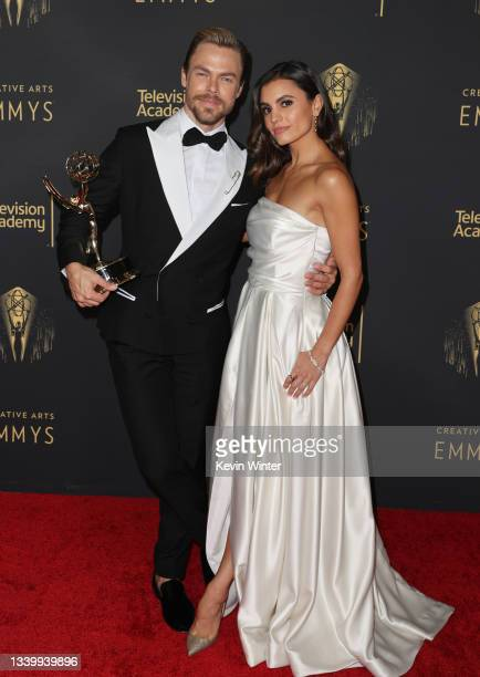 Derek Hough and Hayley Erbert attends the 2021 Creative Arts Emmys at Microsoft Theater on September 12, 2021 in Los Angeles, California.