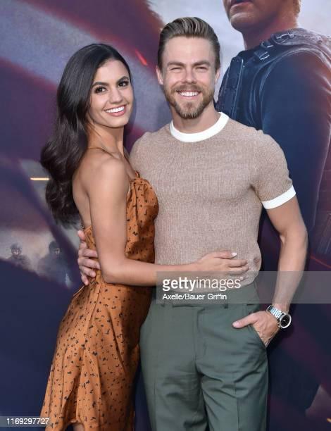 Derek Hough and Hayley Erbert attends the LA Premiere of Lionsgate's Angel Has Fallen at Regency Village Theatre on August 20 2019 in Westwood...