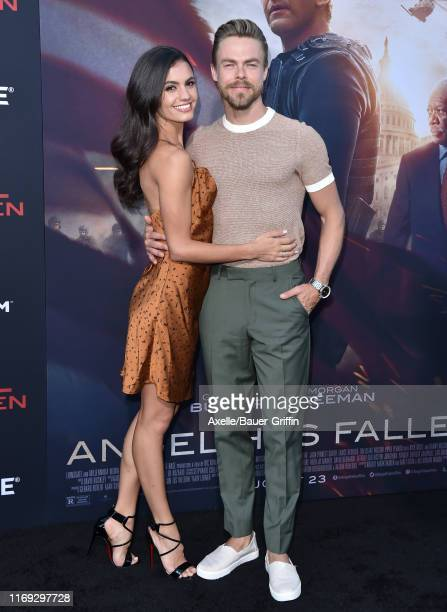 Derek Hough and Hayley Erbert attends the LA Premiere of Lionsgate's Angel Has Fallen at Regency Village Theatre on August 20 2019 in Westwood...