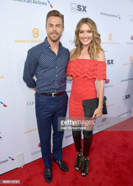 Derek Hough and honoree Amy Purdy attend the 33rd Annual CedarsSinai Sports Spectacular at The Compound on July 15 2018 in Inglewood California