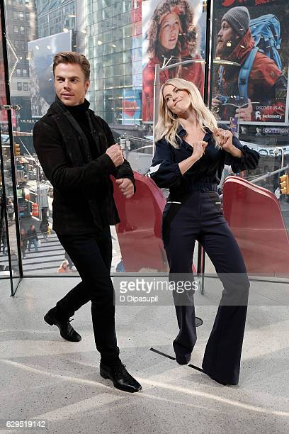 Derek Hough and Julianne Hough visit Extra at their New York studios at HM in Times Square on December 13 2016 in New York City
