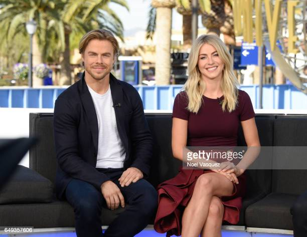 Derek Hough and Julianne Hough visit 'Extra' at Universal Studios Hollywood on March 7 2017 in Universal City California