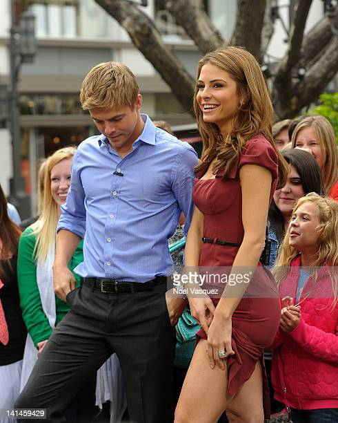 Derek Hough and Maria Menounos visit Extra at The Grove on March 16 2012 in Los Angeles California
