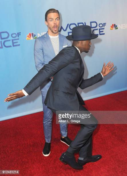 Derek Hough and NeYo attend the photo op for NBC's 'World Of Dance' held at NBC Universal Lot on January 30 2018 in Universal City California