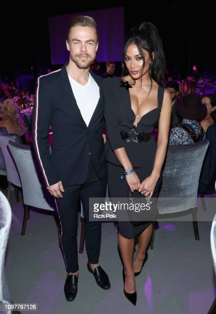 Derek Hough and Nicole Scherzinger attend Steven Tyler's Second Annual GRAMMY Awards Viewing Party to benefit Janie's Fund presented by Live Nation...