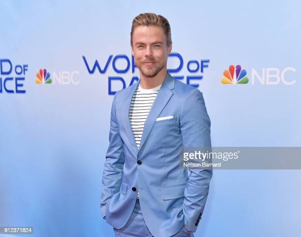Derek Hough attends a photo op for NBC's 'World Of Dance' at NBC Universal Lot on January 30 2018 in Universal City California