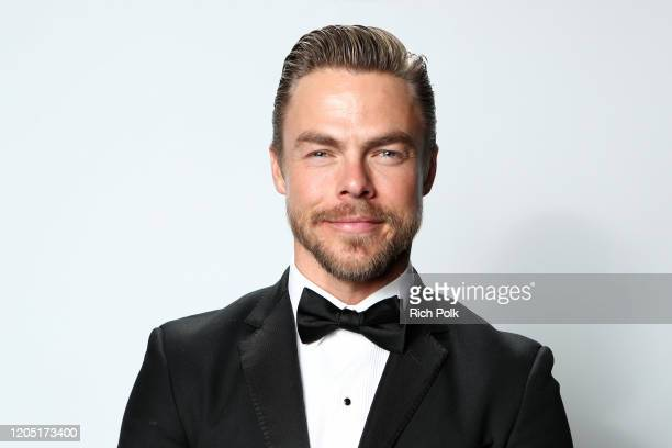 Derek Hough attends IMDb LIVE Presented By M&M'S At The Elton John AIDS Foundation Academy Awards Viewing Party on February 09, 2020 in Los Angeles,...