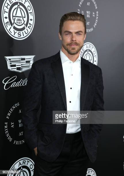 Derek Hough attends The Art Of Elysium's 11th Annual Celebration with John Legend at Barker Hangar on January 6 2018 in Santa Monica California