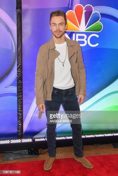 Derek Hough attends the NBC midseason press junket at The Four Seasons in New York on January 24 2019