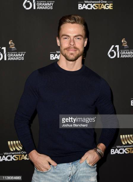 Derek Hough attends the Westwood One Radio Roundtables during the 61st Annual GRAMMY Awards at Lexus Lounge on February 08 2019 in Los Angeles...