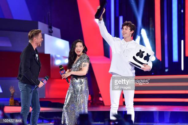 Derek Hough Awkwafina and Shawn Mendes at the 2018 iHeartRADIO MuchMusic Video Awards at MuchMusic HQ on August 26 2018 in Toronto Canada