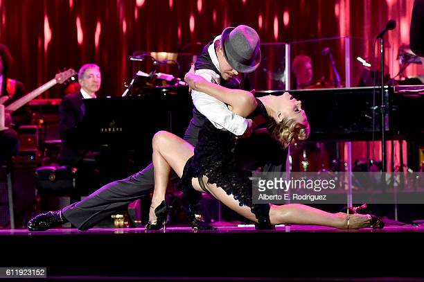 Derek Hough dances onstage during the MPTF 95th anniversary celebration with 'Hollywood's Night Under The Stars' at MPTF Wasserman Campus on October...
