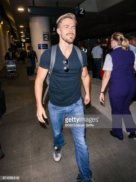 Derek Hough is seen at Los Angeles International Airport on June 13 2018 in Los Angeles California