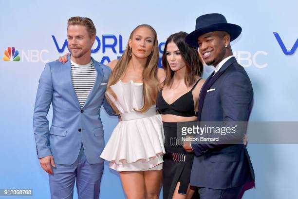 Derek Hough Jennifer Lopez Jenna Dewan and NeYo attend a photo op for NBC's 'World Of Dance' at NBC Universal Lot on January 30 2018 in Universal...