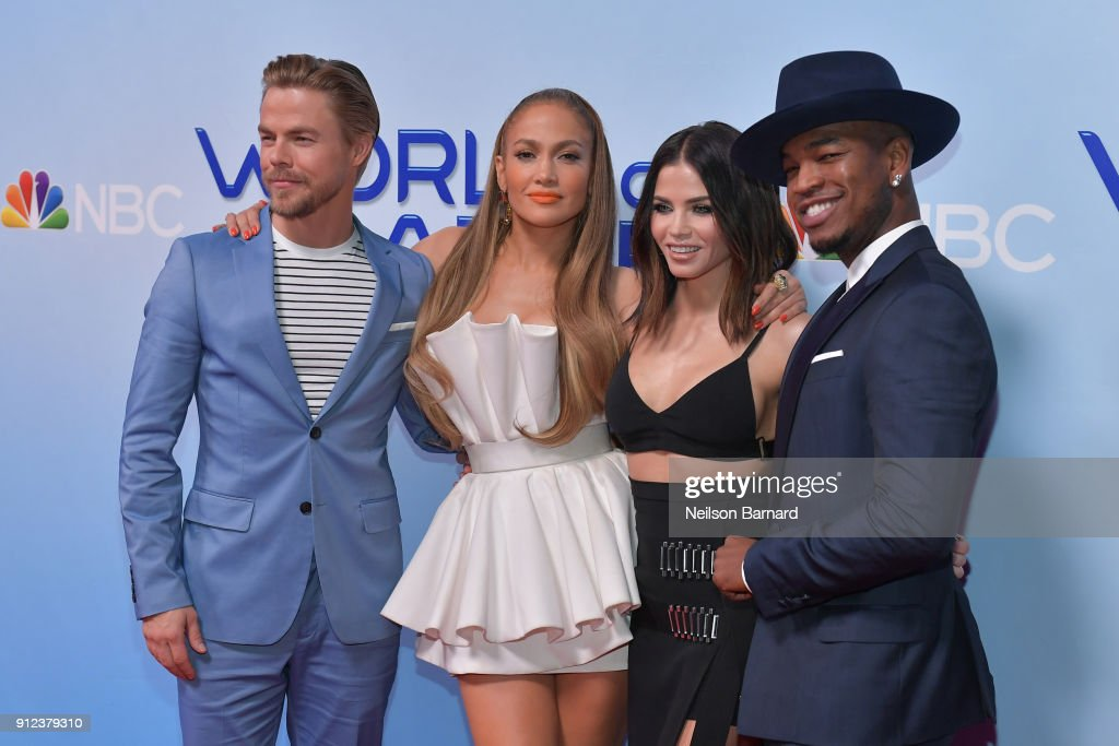 Derek Hough, Jennifer Lopez, Jenna Dewan and Ne-Yo attend a photo op for NBC's 'World Of Dance' at NBC Universal Lot on January 30, 2018 in Universal City, California.