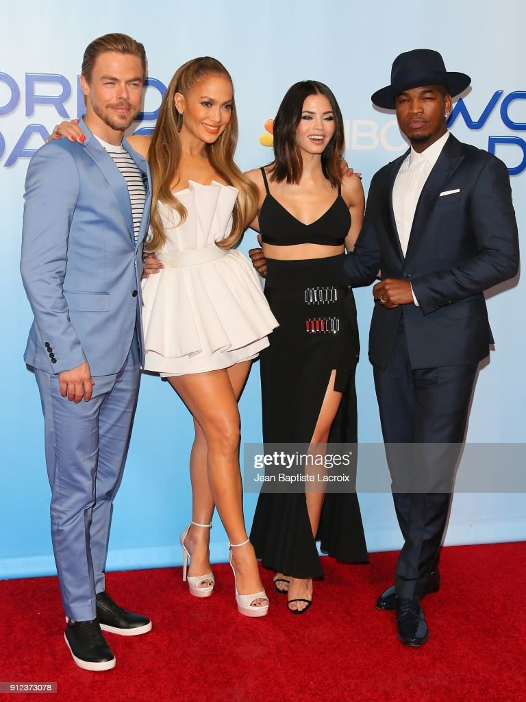 Derek Hough, Jennifer Lopez, Jenna Dewan Tatum and Ne-Yo attend a photo op for NBC's 'World Of Dance' on January 30, 2018 in Burbank, California.