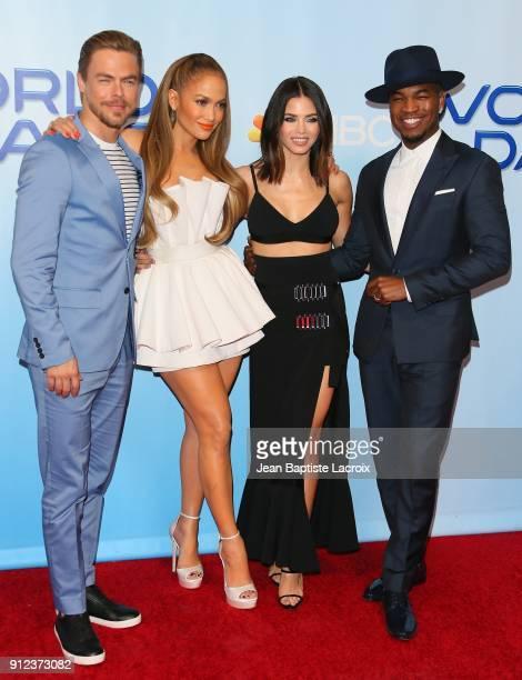 Derek Hough Jennifer Lopez Jenna Dewan Tatum and NeYo attend a photo op for NBC's 'World Of Dance' on January 30 2018 in Burbank California