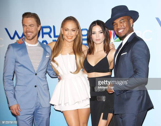 Derek Hough Jennifer Lopez Jenna Dewan Tatum and NeYo attend the photo op for NBC's 'World Of Dance' held at NBC Universal Lot on January 30 2018 in...