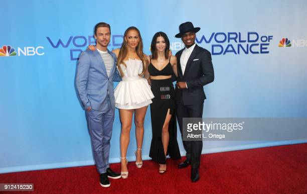 Derek Hough Jennifer Lopez Jenna Dewan Tatum and NeYo attend the photo op for NBC's World Of Dance held at NBC Universal Lot on January 30 2018 in...