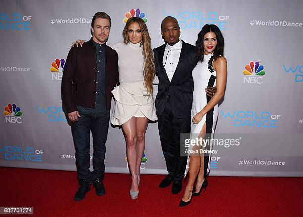 Derek Hough Jennifer Lopez NeYo and Jenna Dewan Tatum attend the Photo Op for NBC's World Of Dance at NBC Universal Lot on January 25 2017 in...