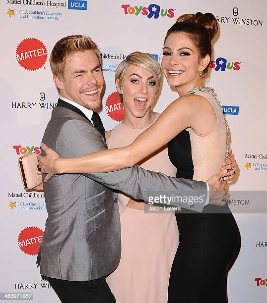 Derek Hough Julianne Hough and Maria Menounos attend the Kaleidoscope Ball at Beverly Hills Hotel on April 10 2014 in Beverly Hills California